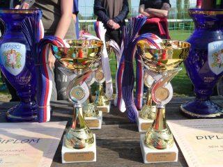 Trofeje pro vítěze květnového kola Hry Plamen v Sedlci